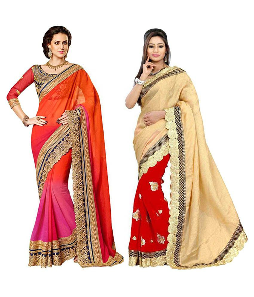 Destiny Enterprise Multicolour Faux Georgette Pack of 2