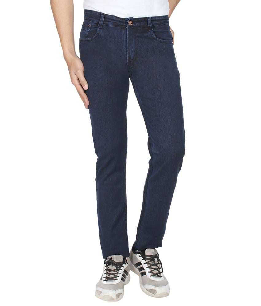 Pescis Blue Regular Fit Flat Trousers