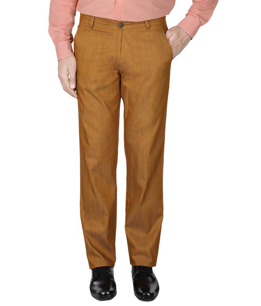 Pescis Yellow Regular Fit Flat Trousers