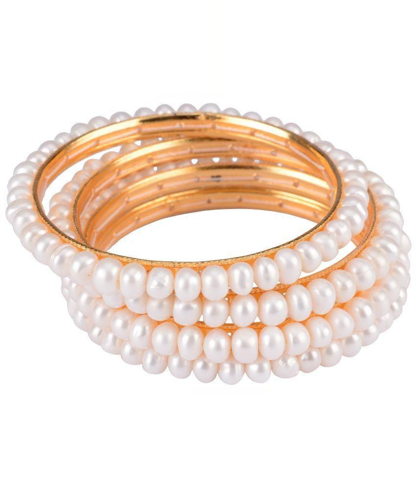 Mittal White and Golden Bangle Set