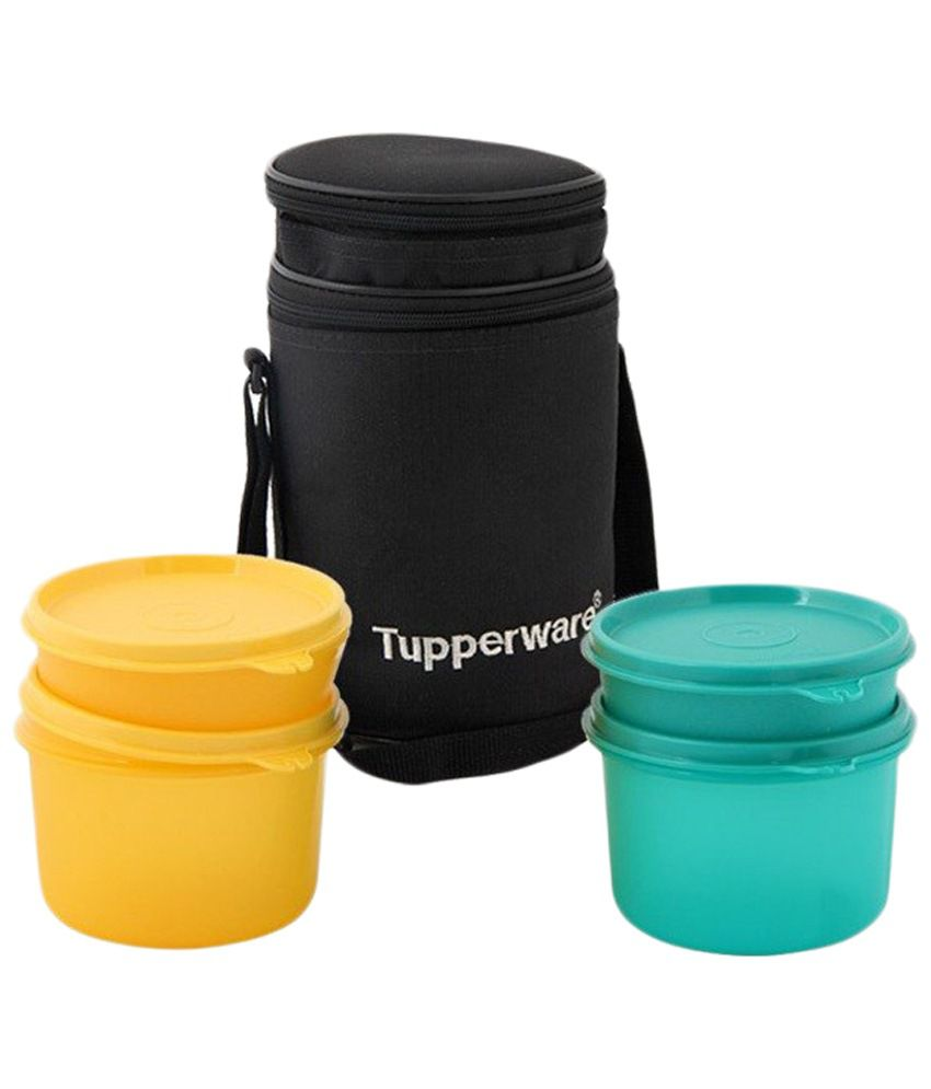 tupperware yellow green 4 container lunch box with carry bag buy online at best price in. Black Bedroom Furniture Sets. Home Design Ideas
