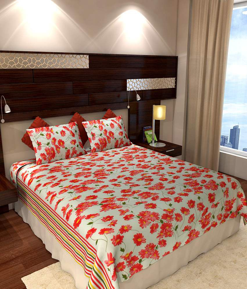 Bed sheets with price - Home Candy Red Floral Cotton Double Bed Sheets With 2 Pillow Covers