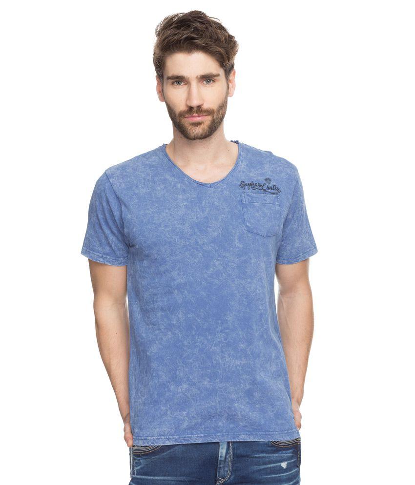Spykar Blue Printed T-Shirt