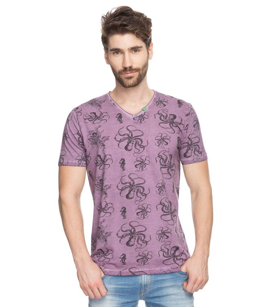 Spykar Mauve Printed T-Shirt