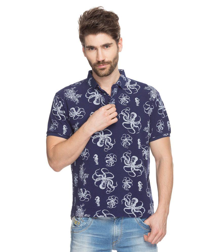 Spykar navy printed polo t shirt buy spykar navy printed for Printed shirts for mens