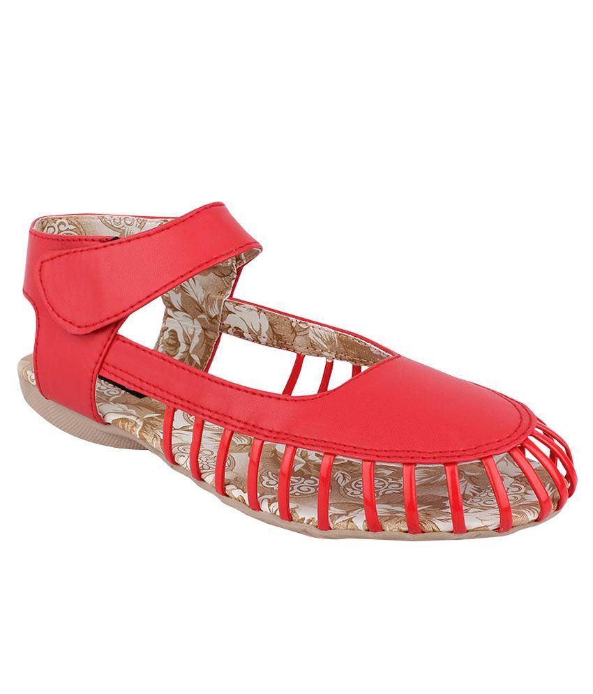 Steady Walk Red Flat Slip-on & Sandal