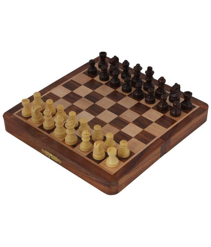Craft Art India Chess Set Folding Magnetic Wooden Board Injdoor / Outdoor Game 5 X 2.5 Inches