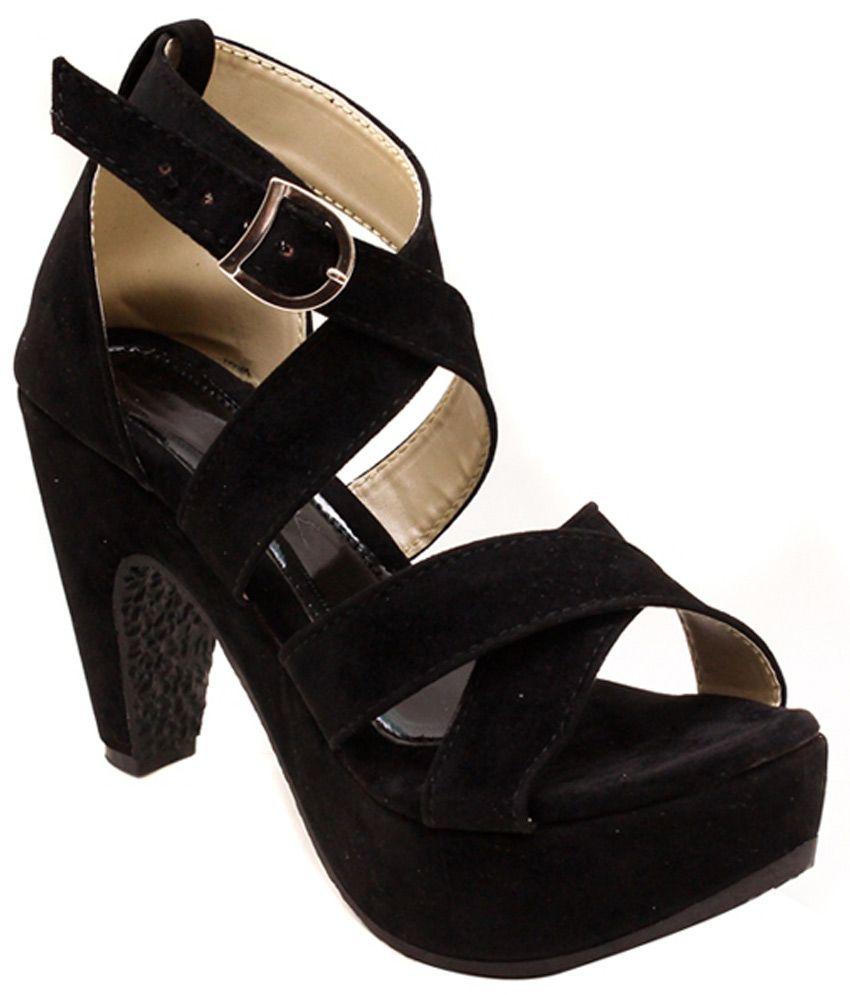 Black sandals online - Canvera Black High Heel Dailywear Women Sandals
