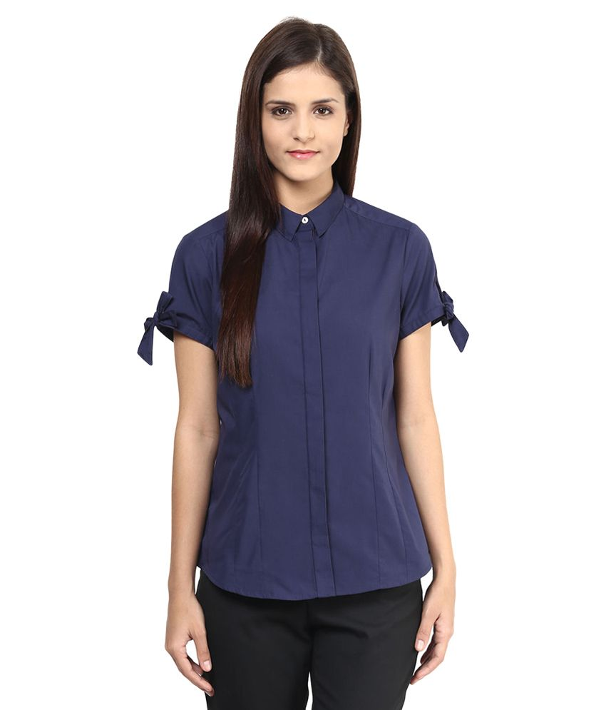 Annabelle By Pantaloons Navy Solid Shirt