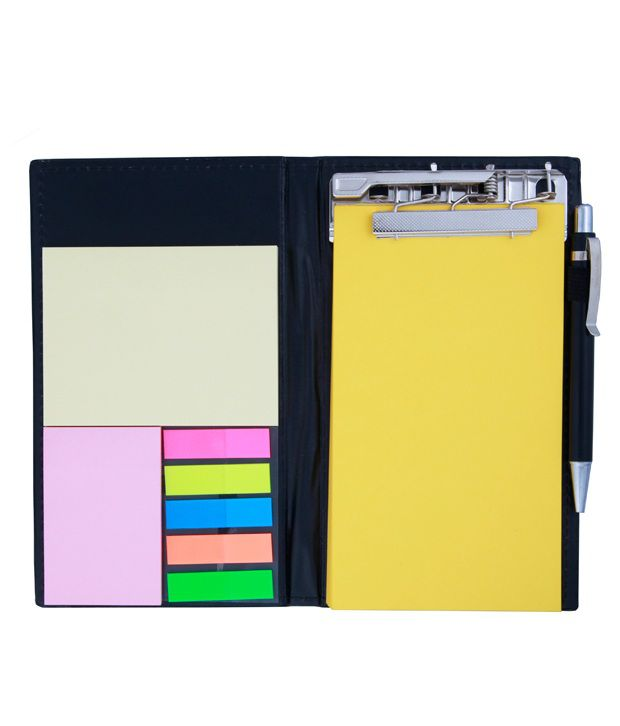 COI Memo Note Pad and Memo Note Book With Sticky Notes and Clip Holder In Diary Style - Yellow