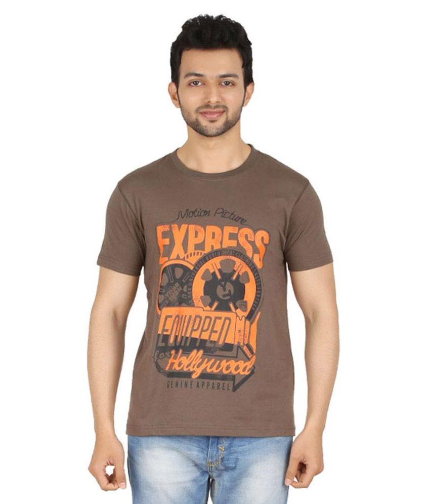 Cipria Brown Round T Shirts