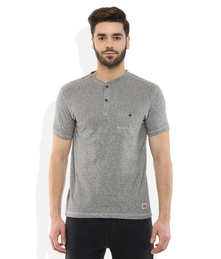 Fort Collins Grey Henley Neck T Shirt