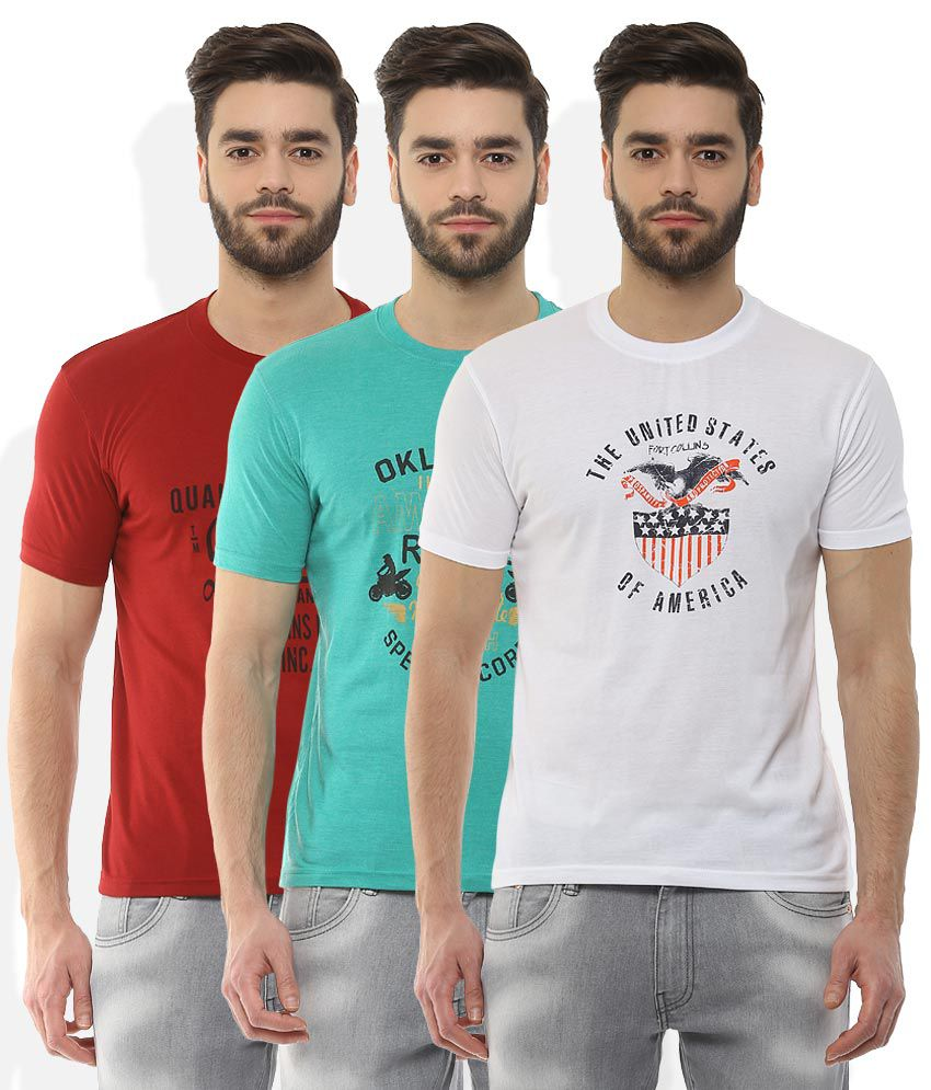 Fort Collins Multi Colored Pack of 3 T Shirt