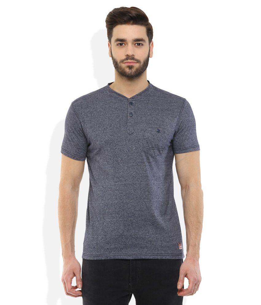 Fort Collins Navy Henley Neck T Shirt