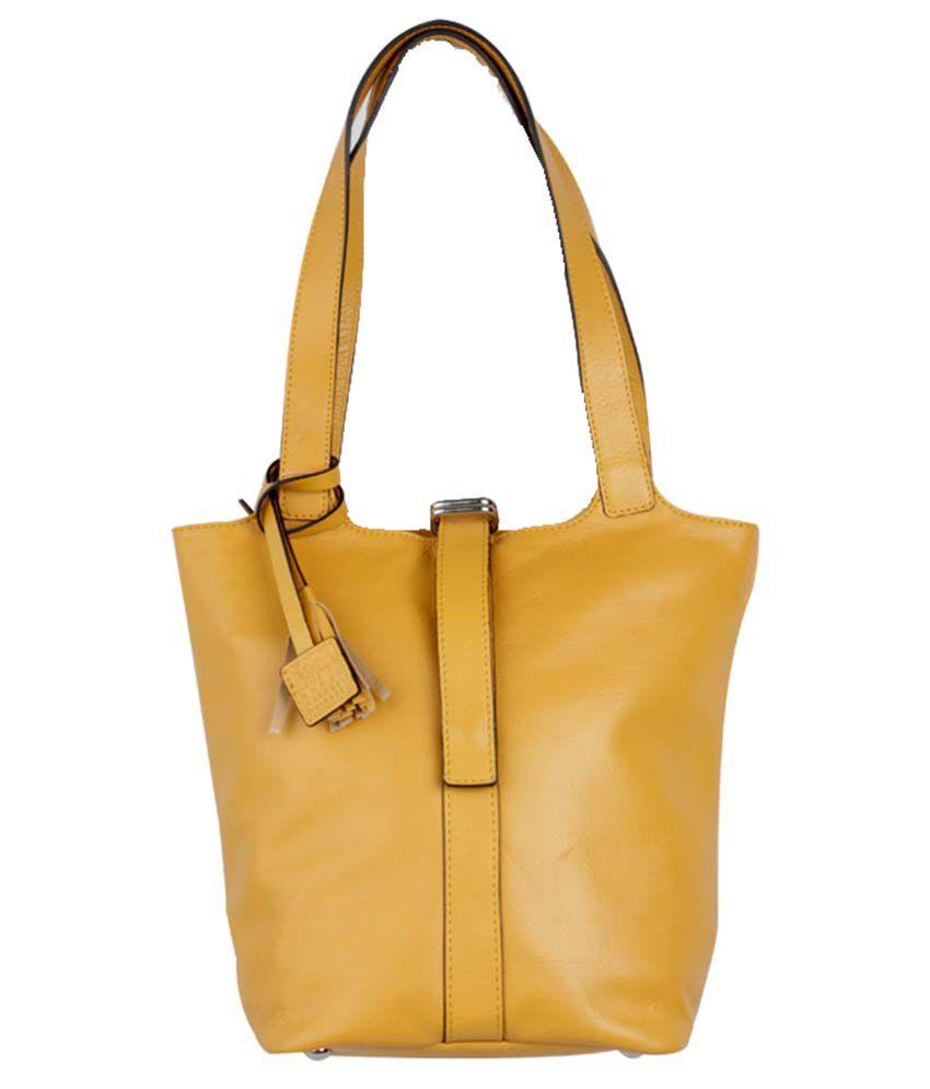 H.u.n.t Yellow Leather Shoulder Bag