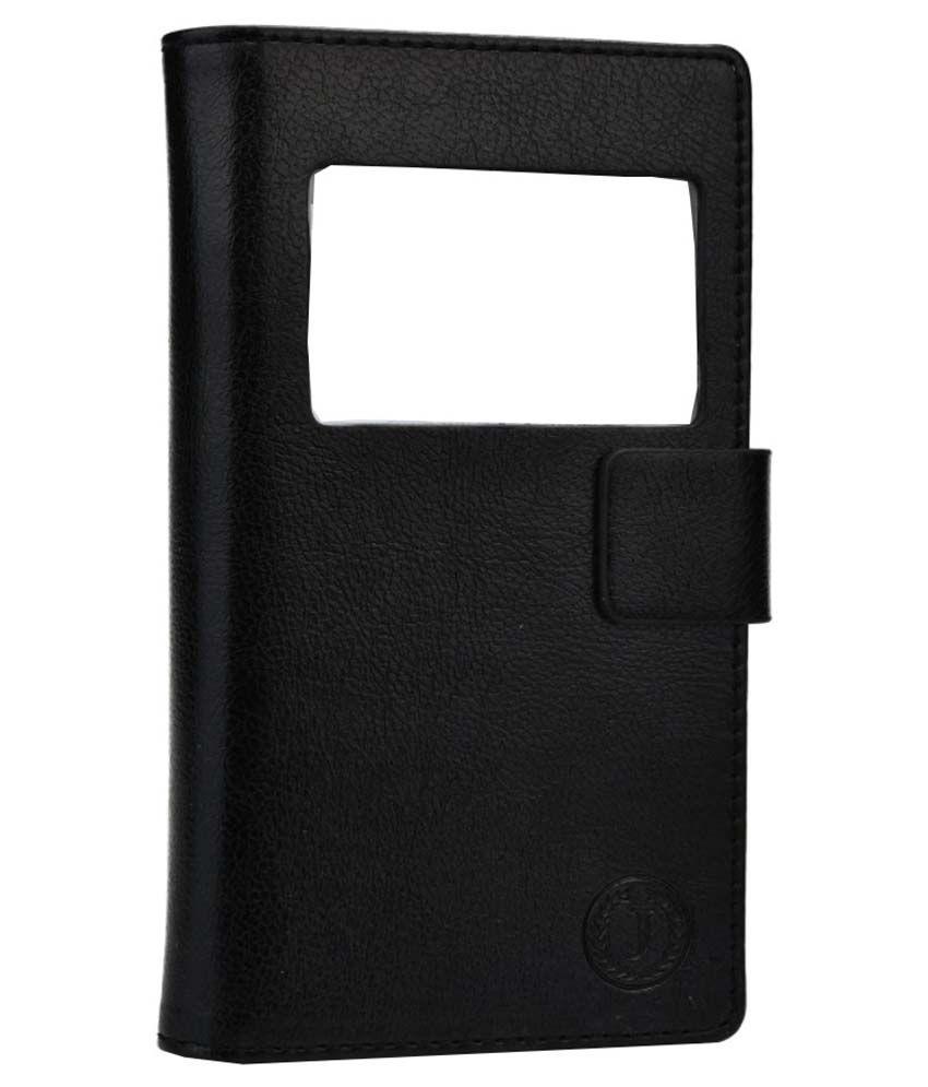 Jo Jo Leather Pouch Flip Cover Case For Obi Worldphone SF1 - Black