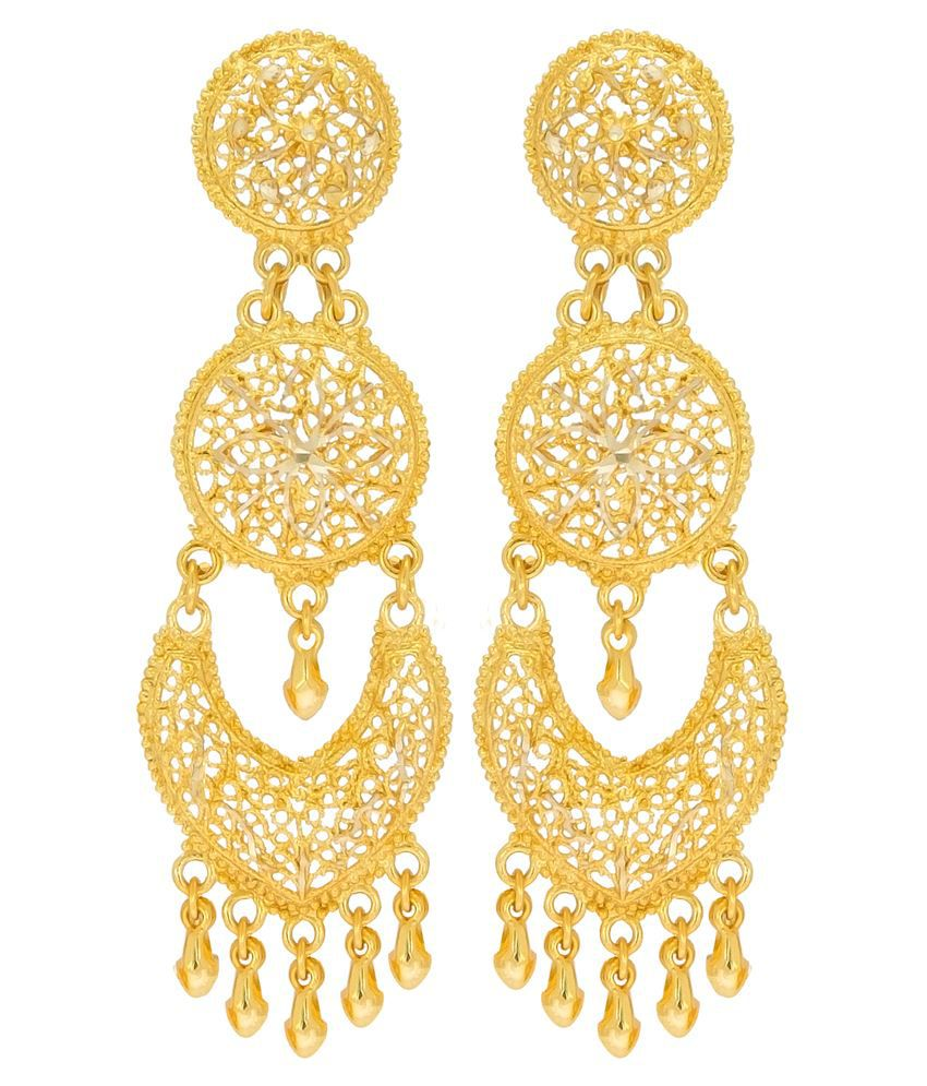 Big Tree Traditional Brass Golden Dangle & Drop Earring for women