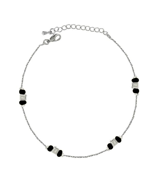 Spargz Beaded Rhodium Anklet