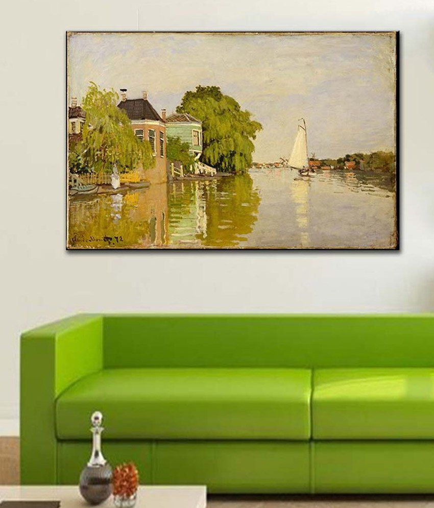 Tallenge Houses on the Achterzaan By Claude Monet Rolled Canvas Art Print