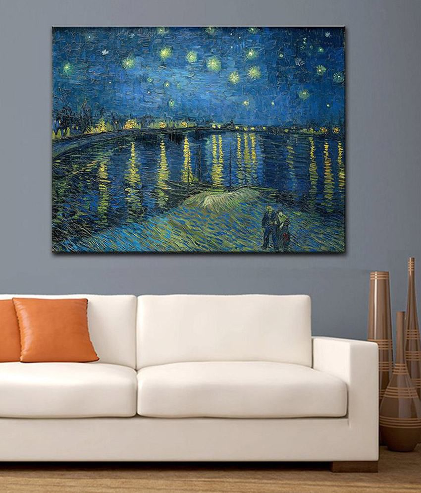 Tallenge Starry Night Over The Rhone By Vincent Van Gogh Rolled Canvas Art Print