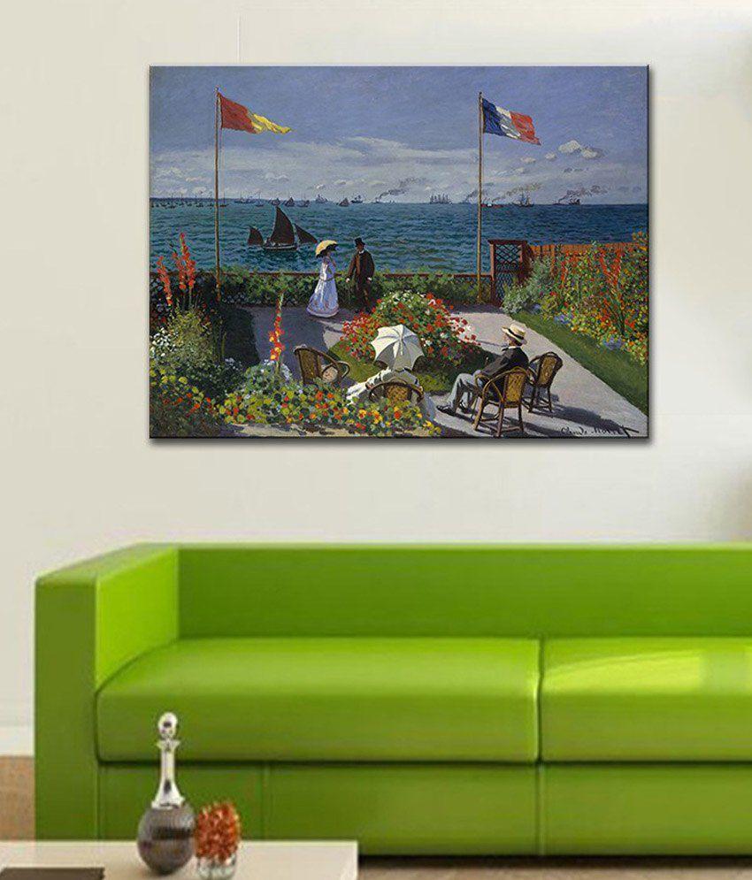 Tallenge The Terrace at SainteAdresse By Claude Monet Rolled Canvas Art Print