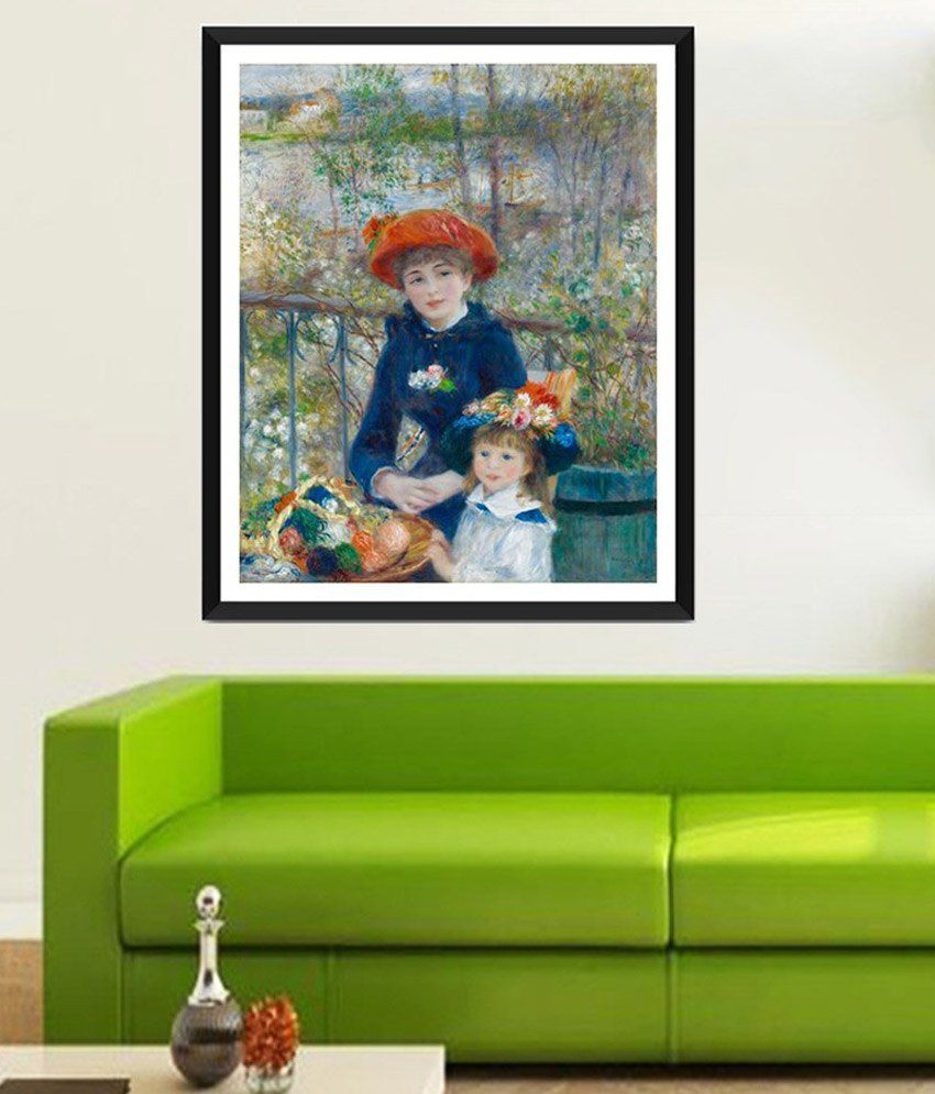 Tallenge Two Sisters, or on the Terrace By PierreAuguste Renoir Framed Art Print