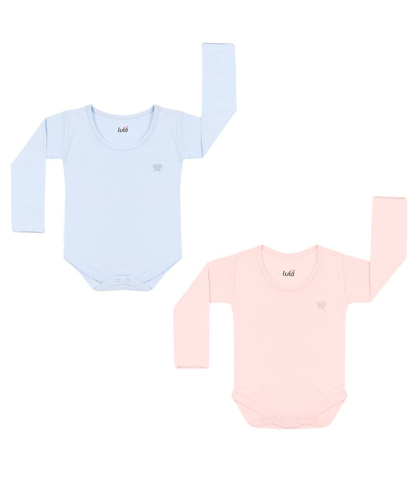 Lula Blue and Pink Cotton Body Suits- Set of 2