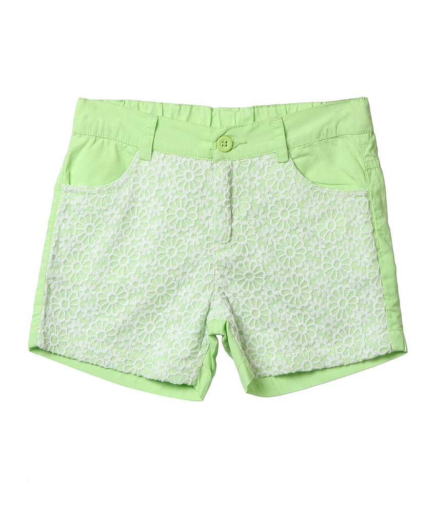 Beebay Green Shorts For Girls