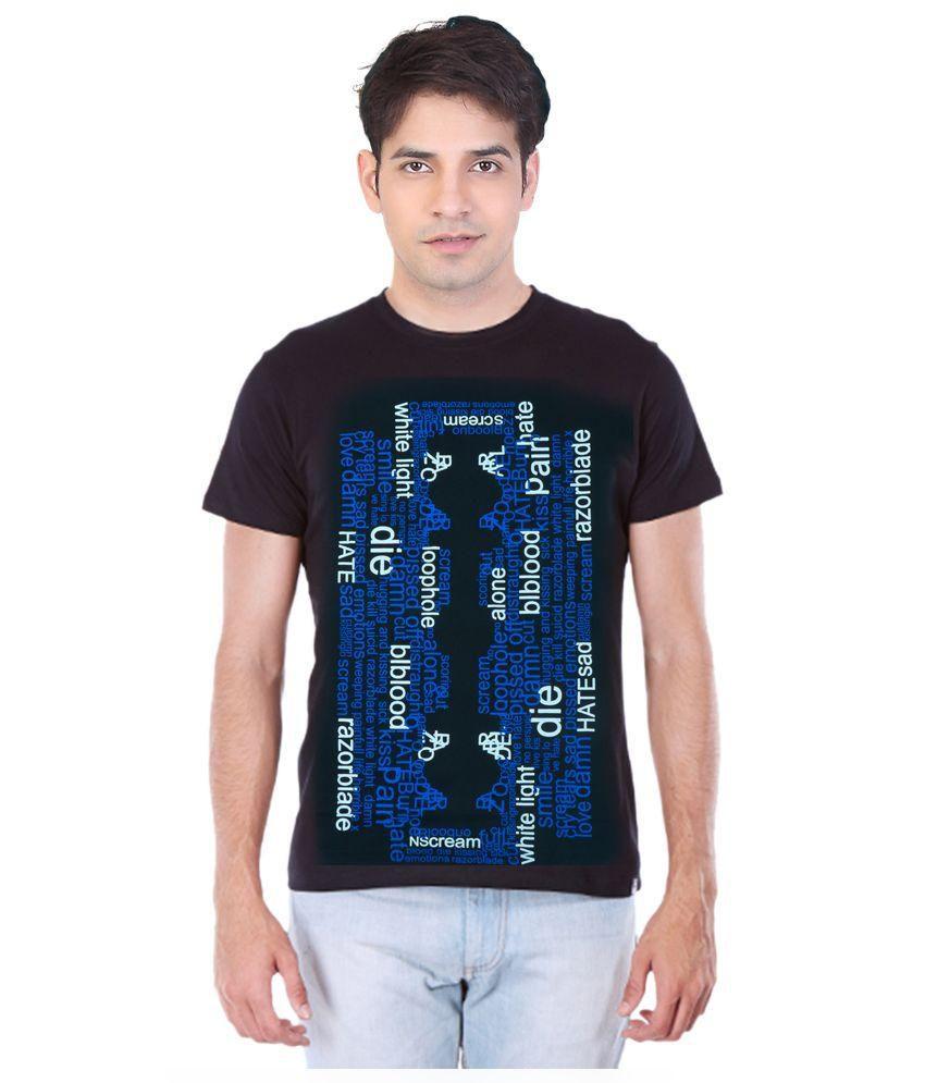 Point Sevan Black Round T Shirts