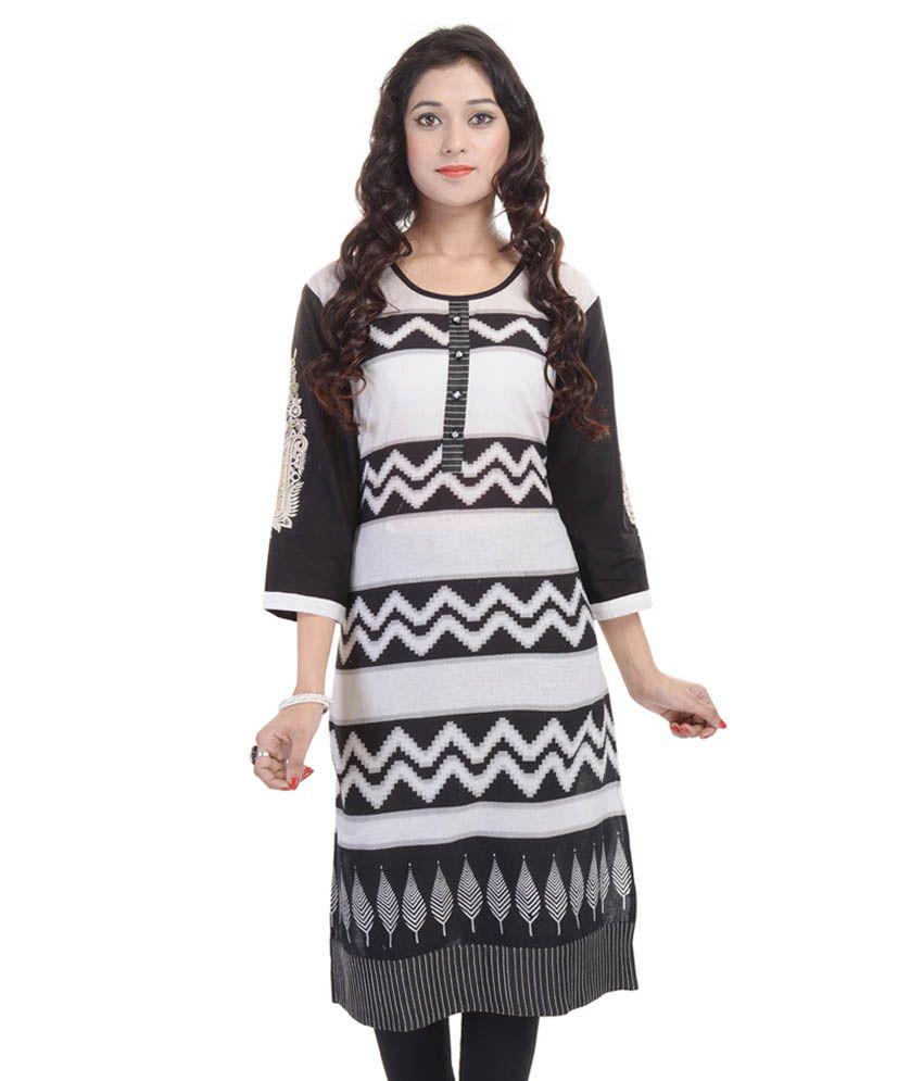 Shopping World Black Straight Cotton Kurti