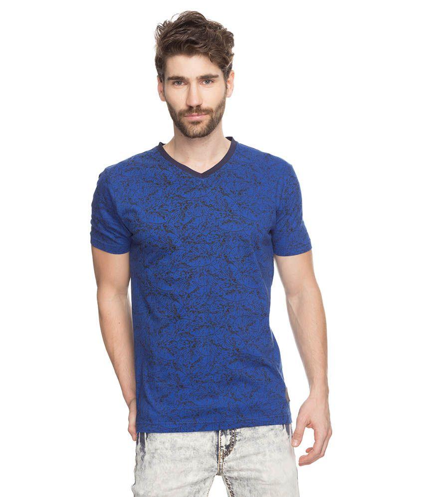 Spykar Blue V-Neck T Shirts No