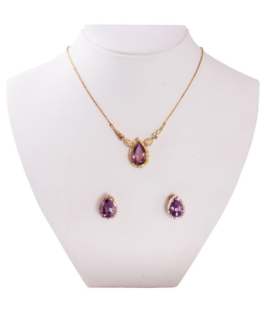 Gemsshop Purple and Golden 18Kt Semi Precious Gems Necklace Set