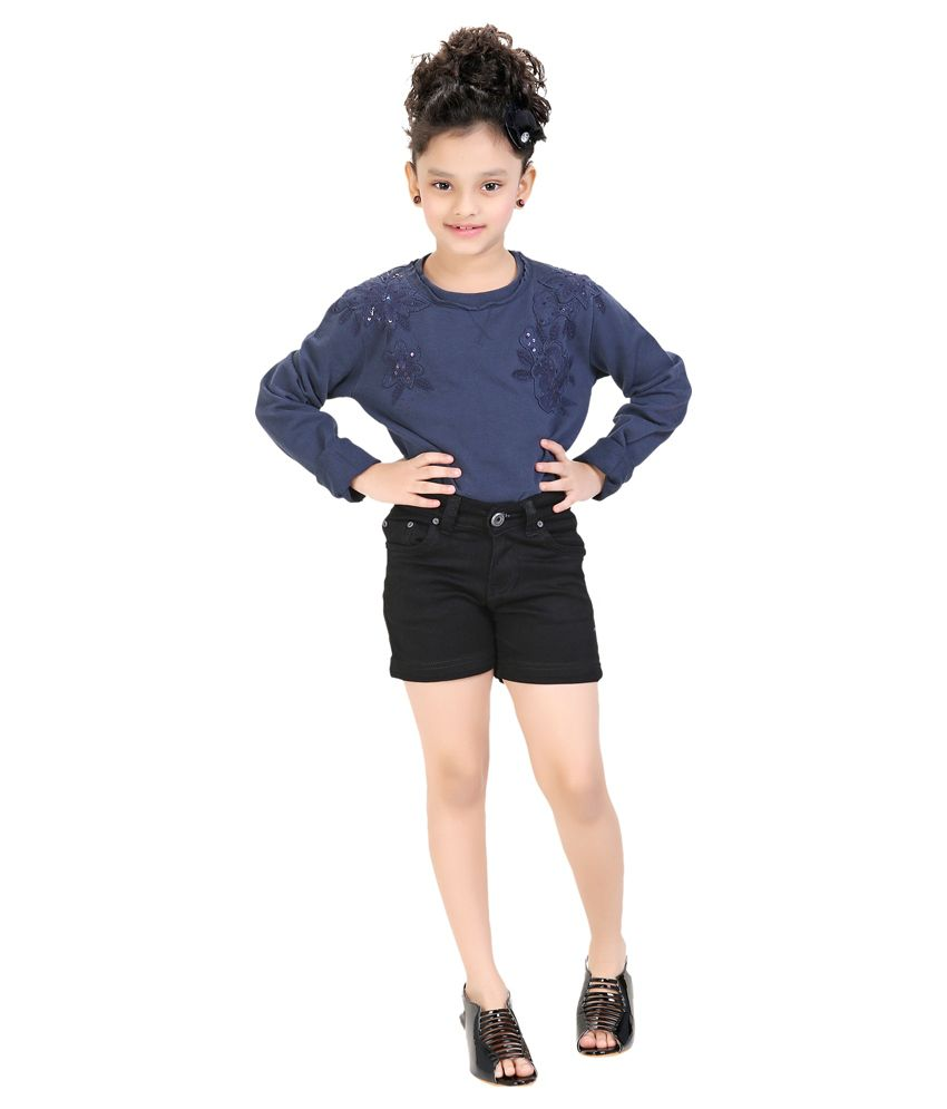 Clench Black Denim Shorts