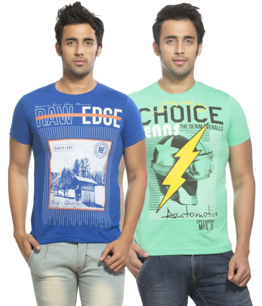Maniac Blue and Green Round T Shirts