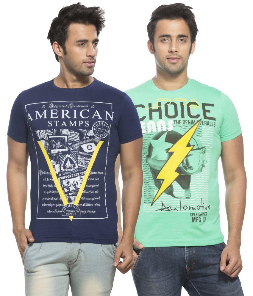Maniac Navy and Green Round T Shirts