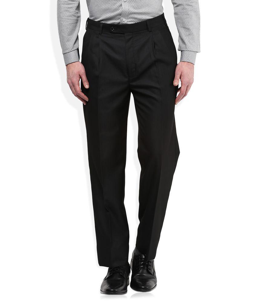 Park Avenue Black Regular Fit Trousers