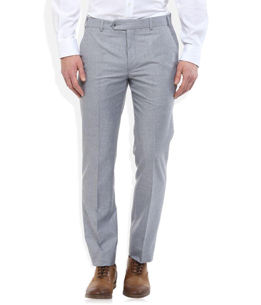 Park Avenue Grey Slim Fit Trousers
