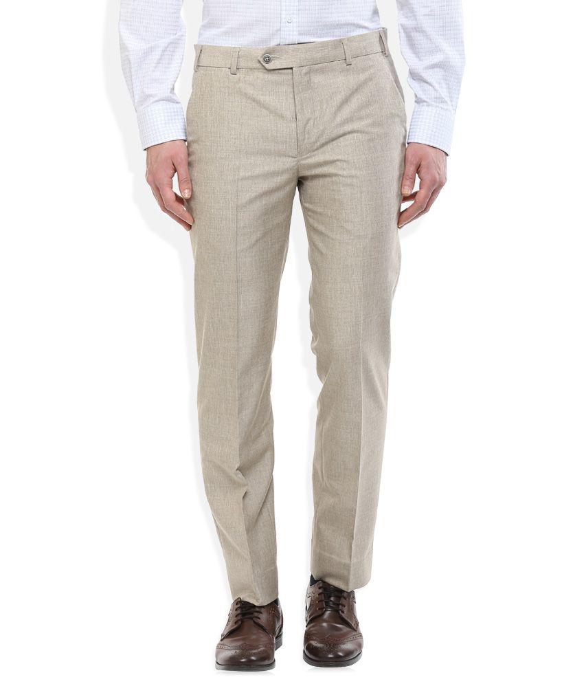 Park Avenue Khaki Slim Fit Trousers