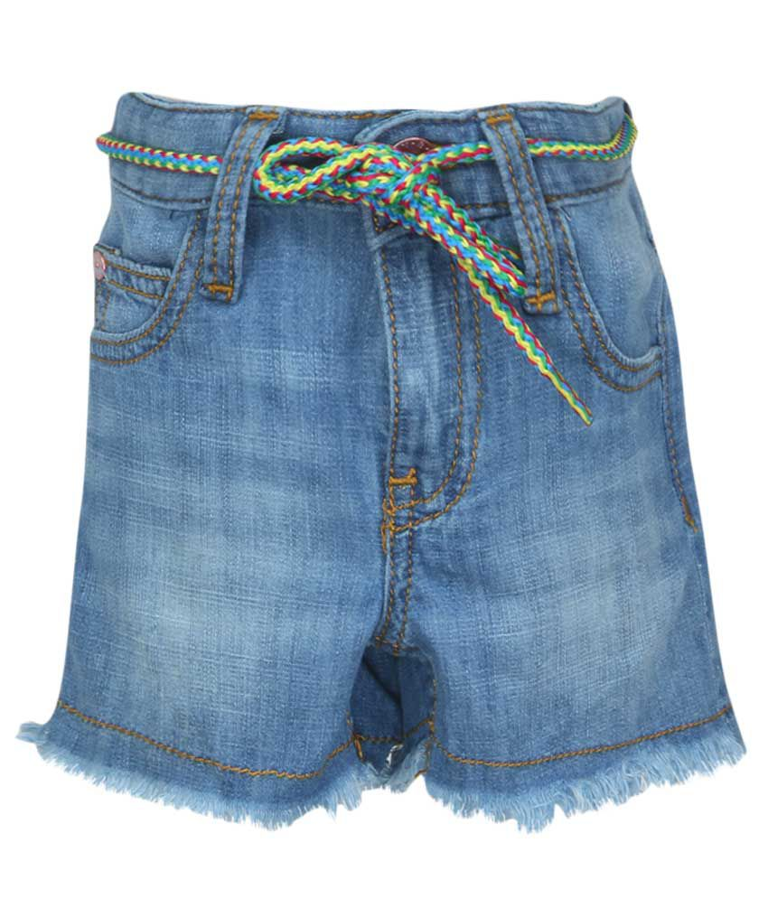 United Colors of Benetton Blue Denim Shorts With Belt