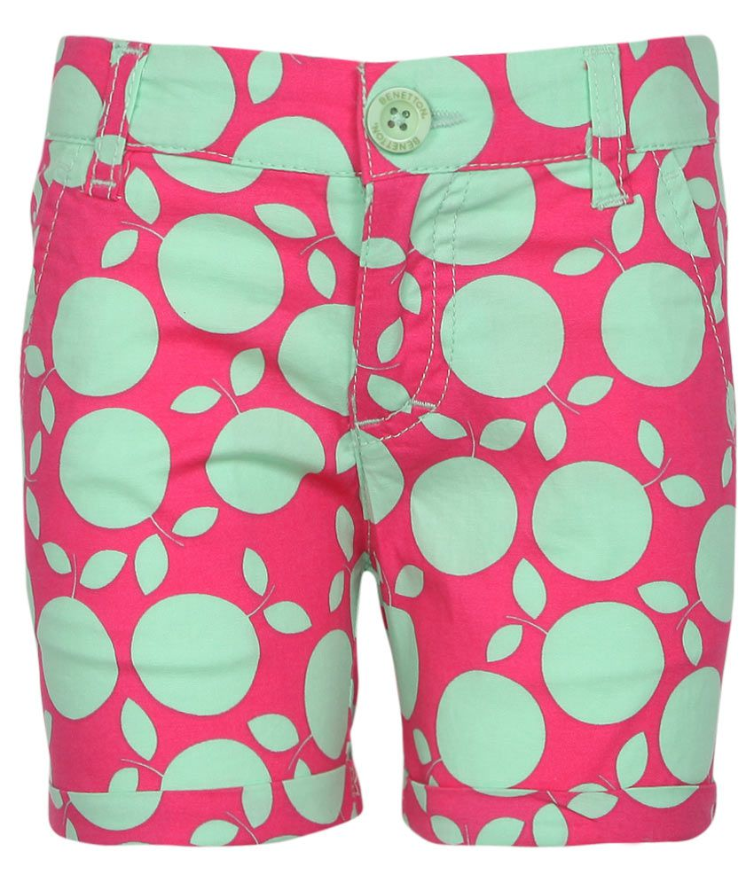 United Colors of Benetton Pink & Green Printed Shorts