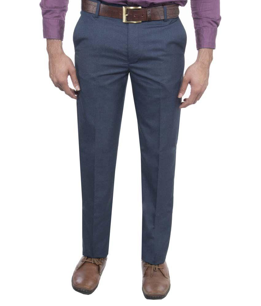 Aragon Royal Blue Regular Fit Flat Formal Trousers