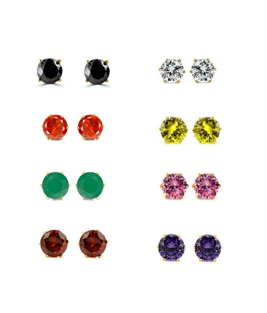 Parijaat Designer Gold Plated CZ Solitaire Stud Earrings.