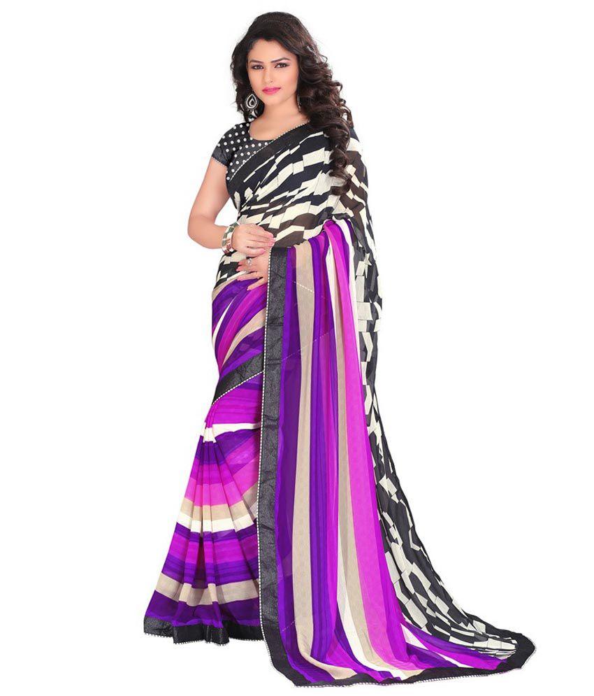 LD Fabrics Multicoloured Chiffon Saree