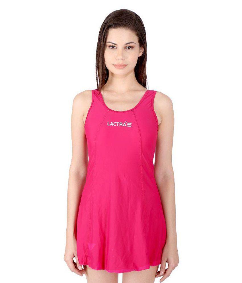 Lactra Pink Nylon Swimwear for Women/ Swimming Costume