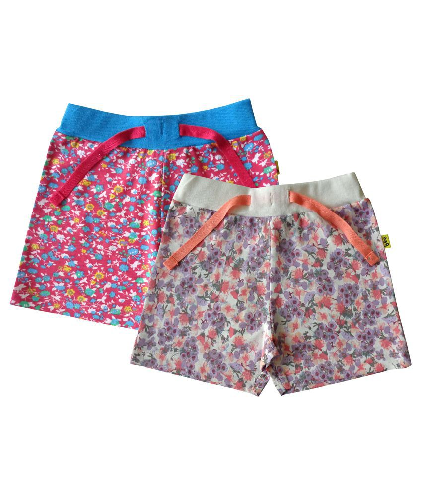 Tiny Bee Multicolour Shorts For Girls Pack Of 2