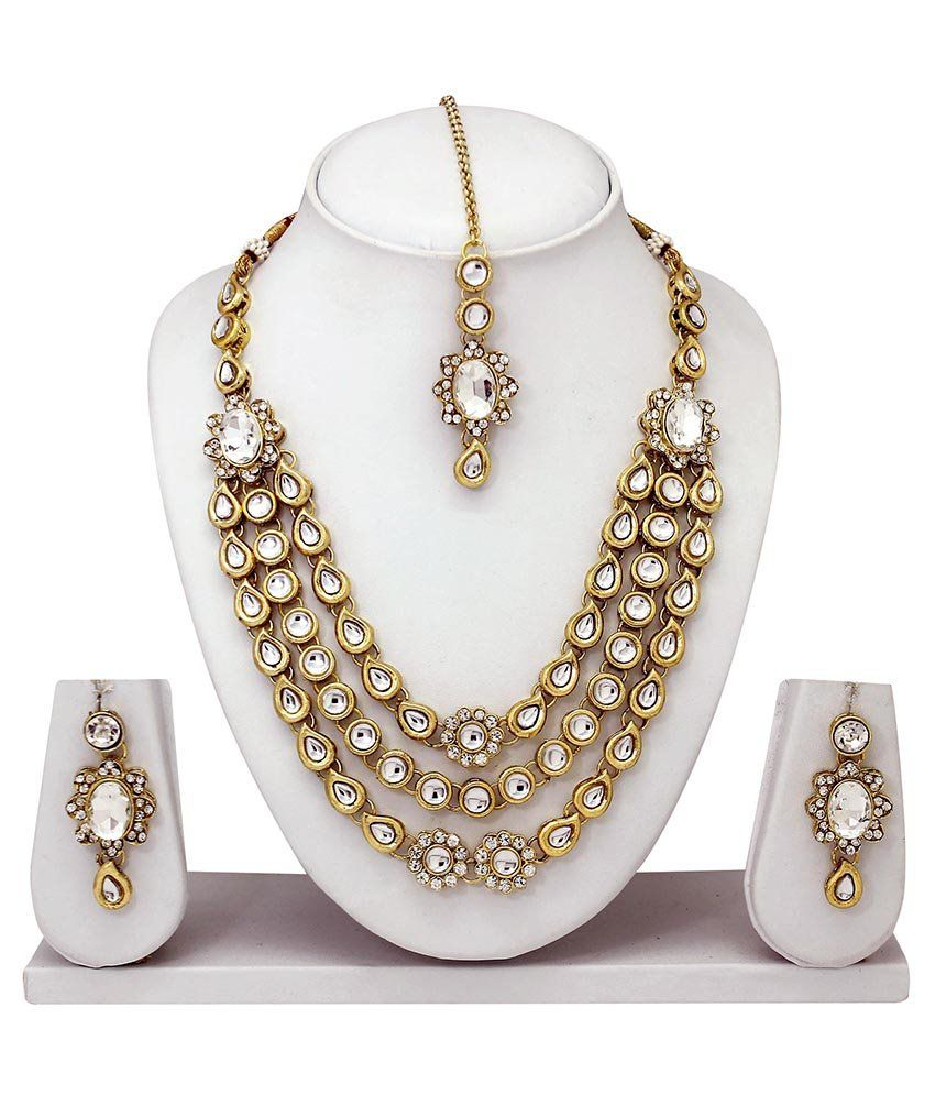 Atasi International Golden Alloy Necklace Set With Maang Tika
