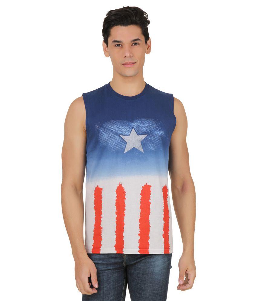 Civil War Blue Printed T-Shirt
