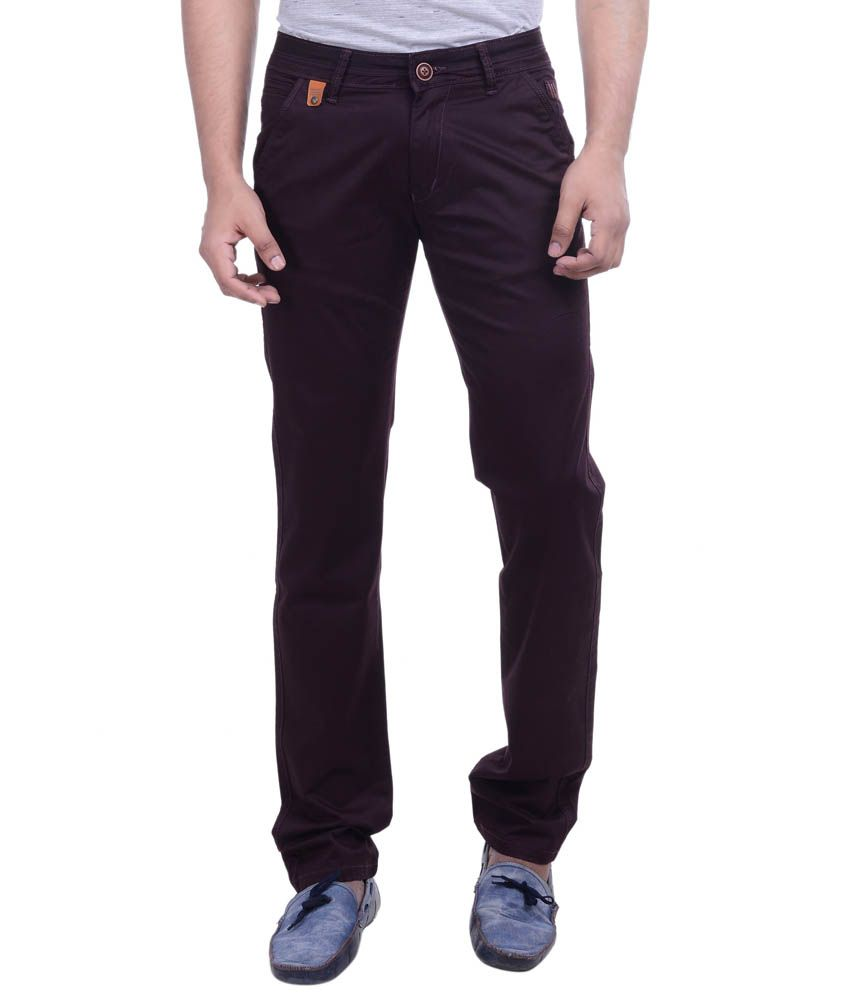 Hoffmen Brown Slim Fit Flat Trousers