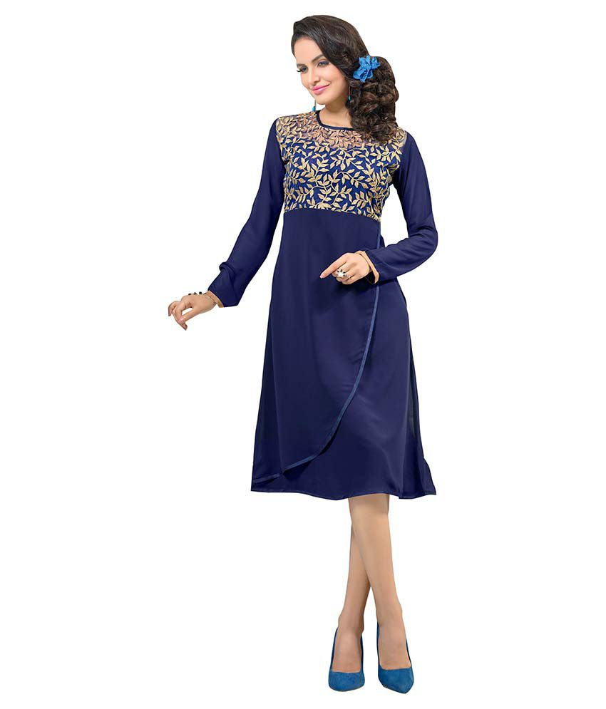 Awesome Blue Straight Faux Georgette Kurti