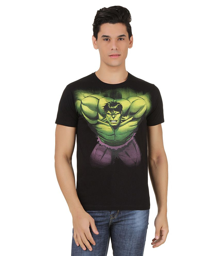 Hulk Black Printed T-Shirt